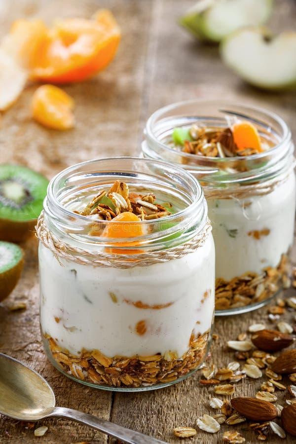 Granola com iogurte e frutos imagem de stock royalty free