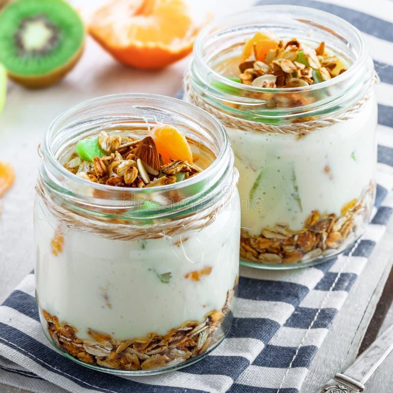 Granola com iogurte e frutos imagens de stock royalty free