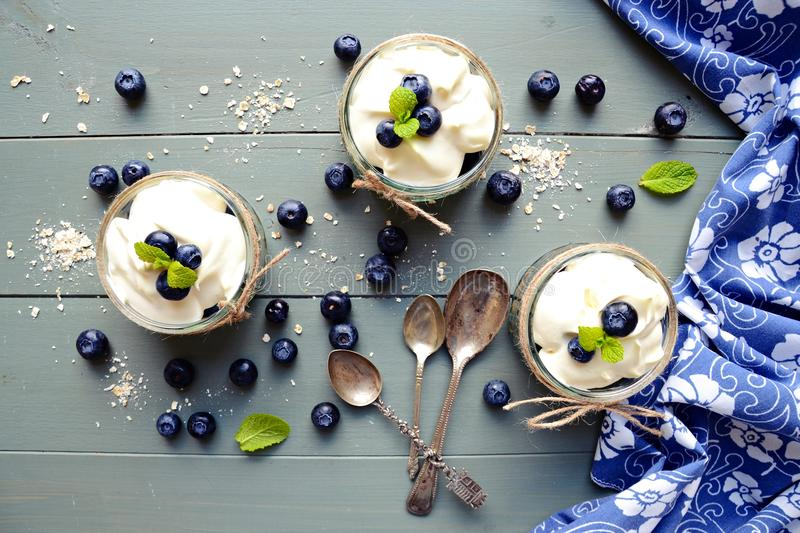 Granola desserts. On the wooden background royalty free stock photo
