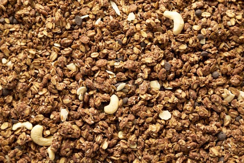 Granola faite maison de chocolat, vue supérieure photo stock