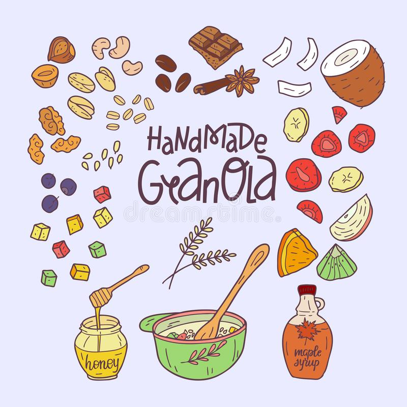 Granola homemade. Ingredients for making granola. Healthy breakfast. Hand drawn vector illustration. Granola homemade.  Hand drawn vector illustration royalty free illustration