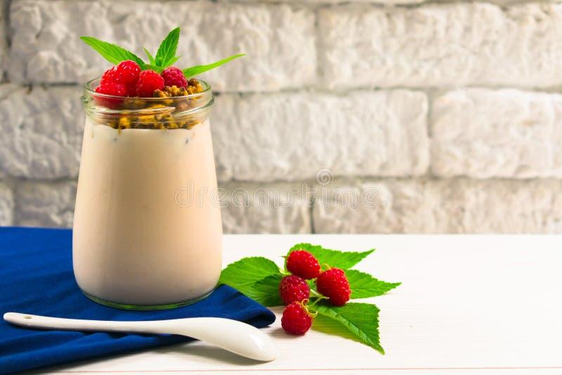 Granola jogurt dekorujący z świeżymi malinowymi jagodami Lata pojęcie zdrowy deser, breakfastCopy przestrzeń zdjęcia stock
