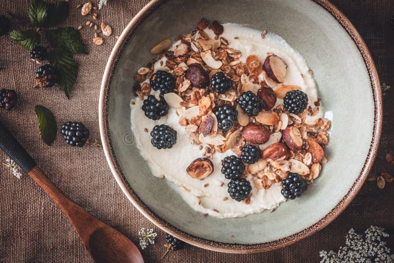 Granola libre del gluten con el yogur y las zarzamoras del coco foto de archivo libre de regalías