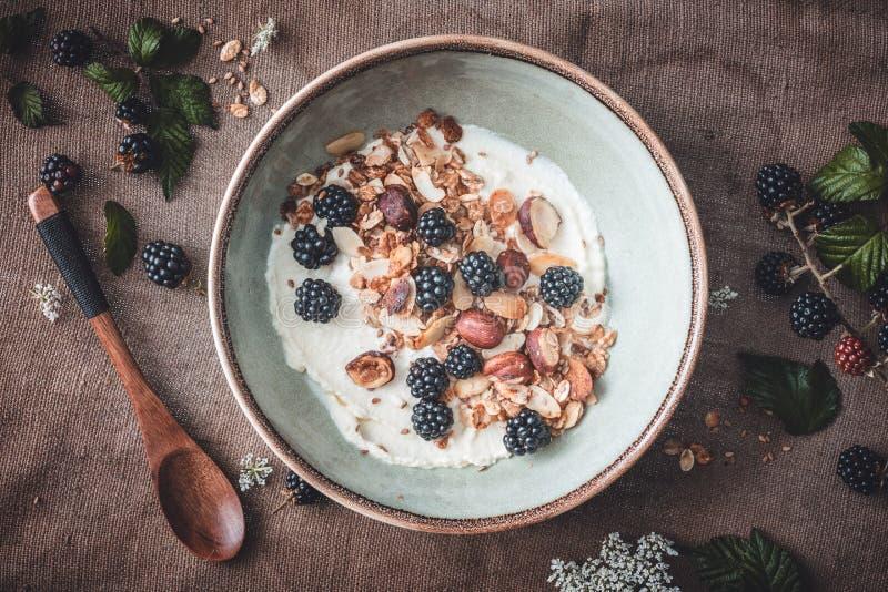Granola libre del gluten con el yogur y las zarzamoras del coco en el tarro para el desayuno fotografía de archivo libre de regalías