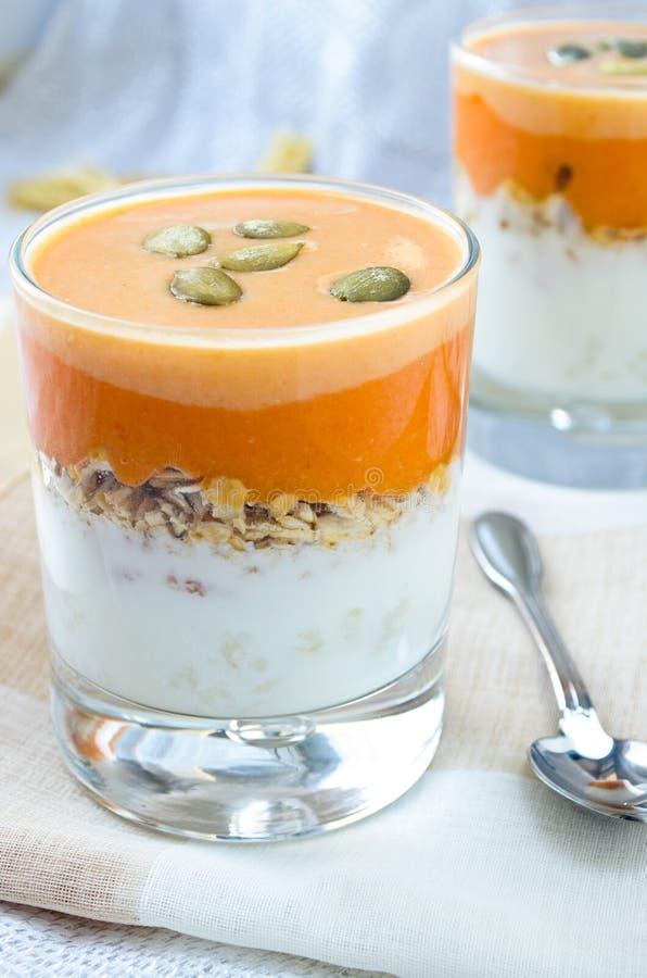 Granola med yoghurten, hård sås för pumpa och kärnar ur royaltyfri fotografi