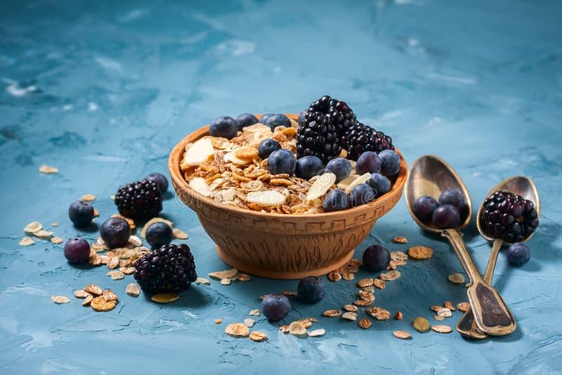 Granola met bosbessen en braambessen Gezond voedsel royalty-vrije stock foto's