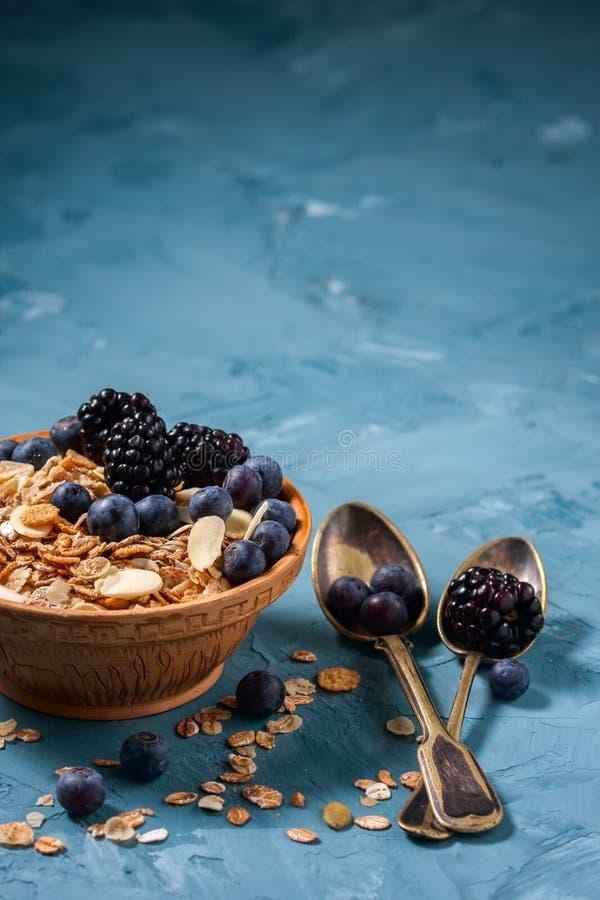 Granola met bosbessen en braambessen Gezond voedsel stock foto