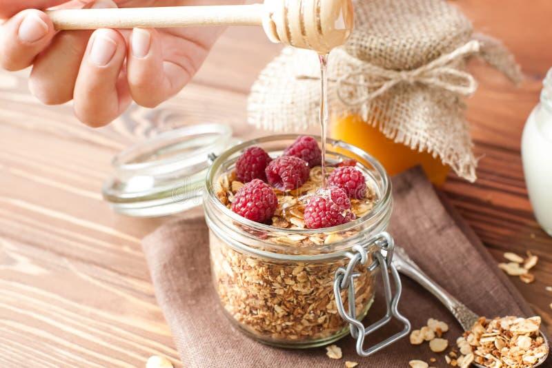 Granola met havervlokken en vruchten stock fotografie