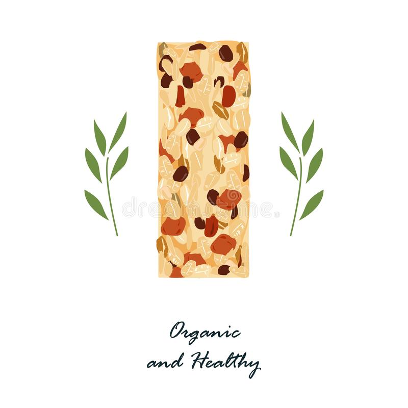 Granola bar isolated on white. Healthy snack with nats and dried fruits. Energy bars vector, organic and healthy food. Granola or muesli bar isolated on white stock illustration