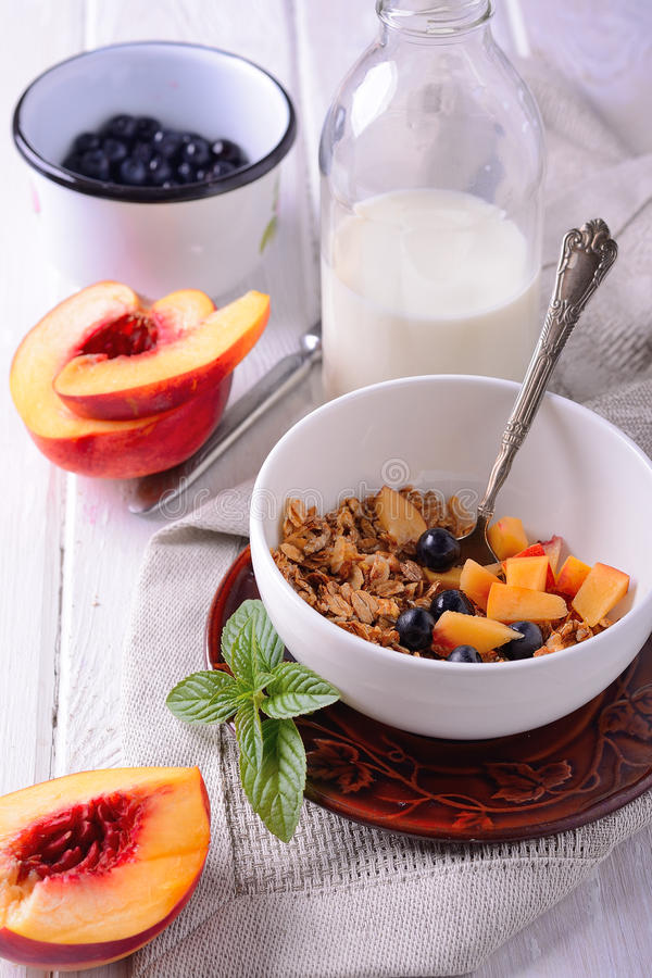 Granola And Oat Mash With Fresh Blueberries, Stock Image ...