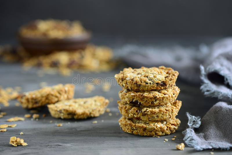 Hommemade granola put in a stack. Granola pieces put in a stack, homemade simple healthy snack royalty free stock image