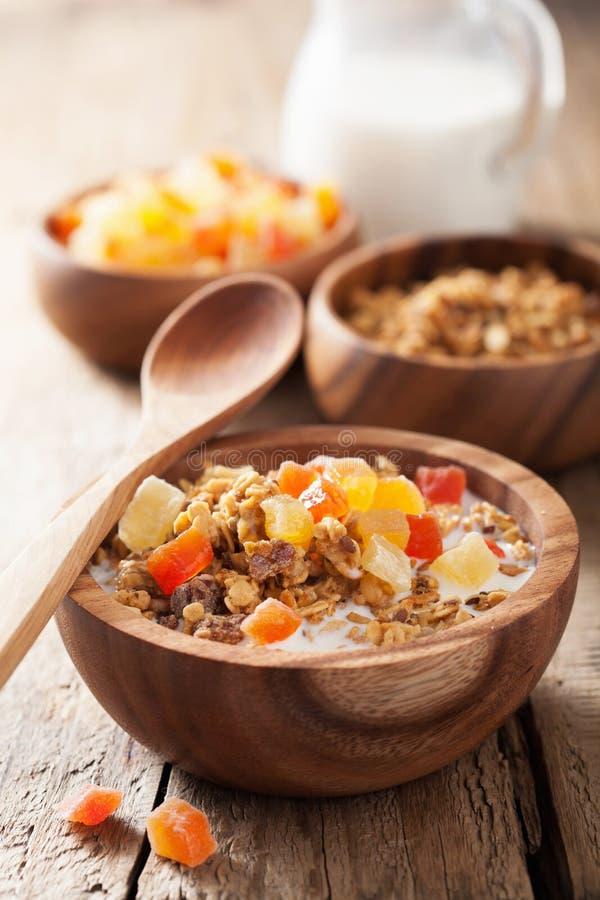 Granola saine avec les fruits secs pour le petit déjeuner photos stock