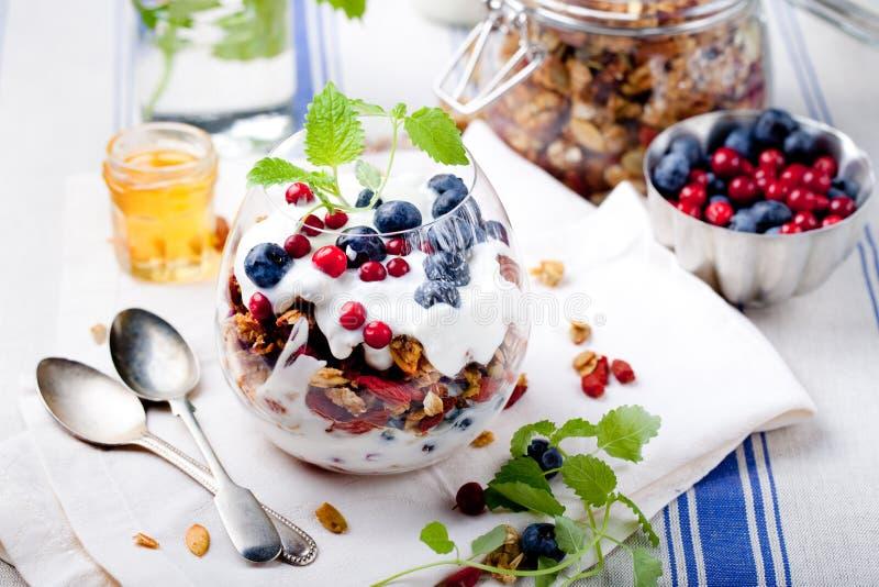 Granola saine de petit déjeuner avec des baies, yaourt images libres de droits