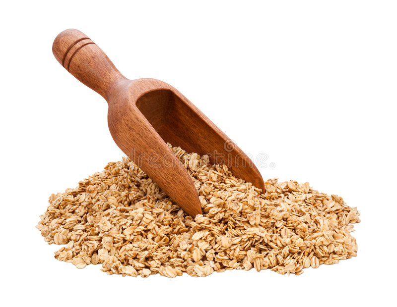 Granola Scoop. Isolated on white. Full focus front & back. Isolation is on a transparent layer in the PNG format royalty free stock photography