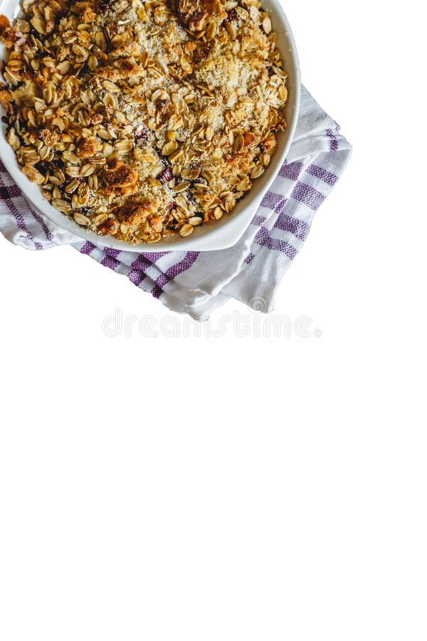 Granola on a white isolated background. Top view, flat lay. The concept of healthy sports nutrition for breakfast.  royalty free stock photo