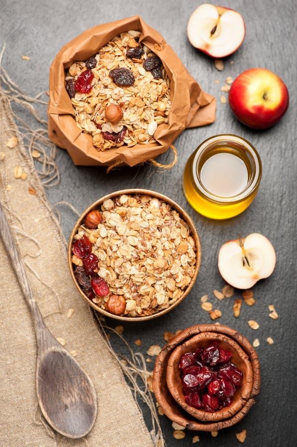 Granola, wysuszone jagody, dokrętki, jabłka i miód, obraz royalty free