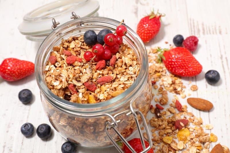 Granola y frutas hechos en casa imagen de archivo