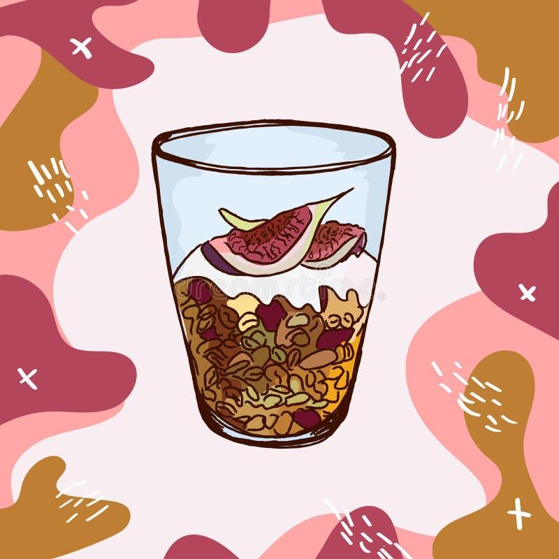 Granola z figami, dokrętkami, rodzynkami i jogurtem w szklanej zlewce, R?ka rysuj?ca nowo?ytna wektorowa ilustracja Odosobniona m ilustracji