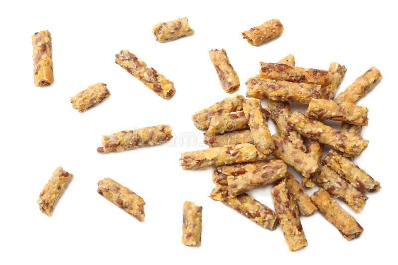 Granolafrühstück lokalisiert auf weißem Hintergrund muesli Gesunde Nahrung Getreide-Eignungstab für Diät Beschneidungspfad einges lizenzfreies stockfoto