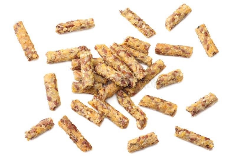 Granolafrukost som isoleras på vit bakgrund Mysli sund mat stångsädesslag bantar kondition Top beskådar arkivfoto