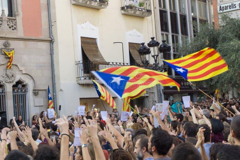 Granollers, Catalonia, Hiszpania, Październik 3, 2017: paceful ludzie w protescie przeciw hiszpańskiemu fotografia stock