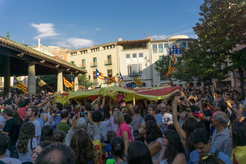 Granollers Catalonia, Spanien, Oktober 3, 2017: paceful folk i protest royaltyfri fotografi