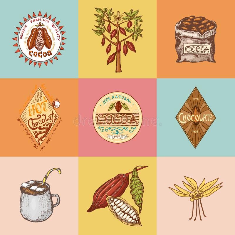 Granos de cacao y logotipos del chocolate caliente insignias modernas del vintage para el menú de la tienda Semillas de la fruta  libre illustration