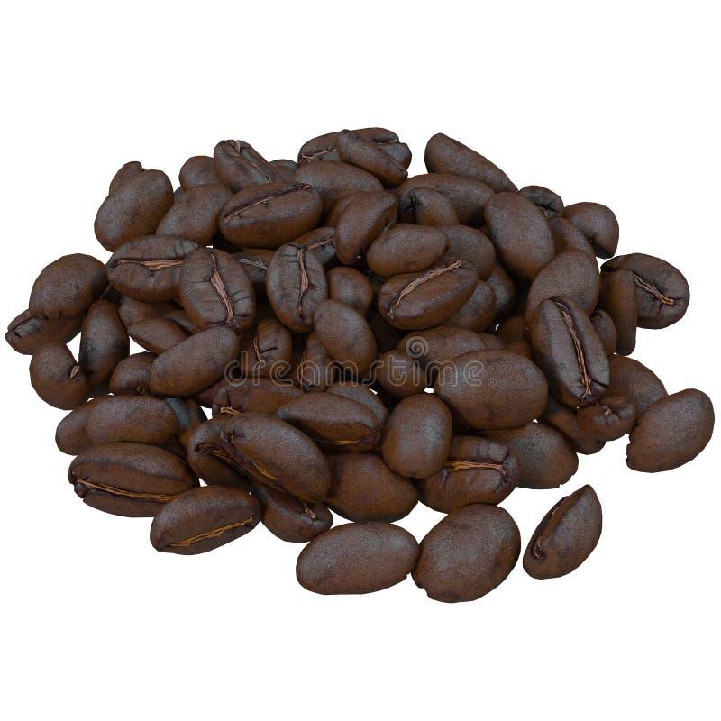 granos de café, aislados en el fondo blanco, stock de ilustración