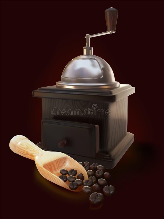 Granos de café asados con delta de la amoladora fotos de archivo