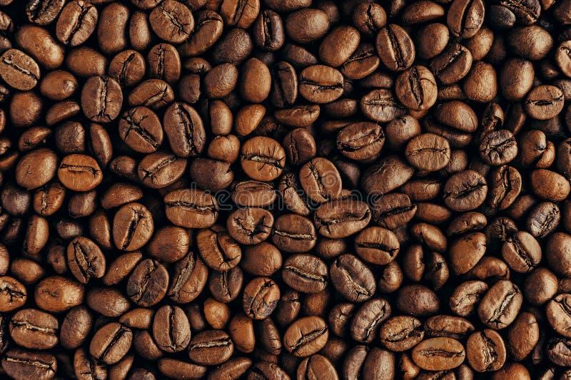 Granos de café asados, textura del primer imagen de archivo libre de regalías