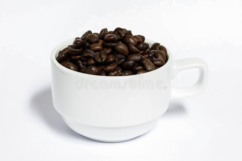 Granos de café con la tierra de la parte posterior del blanco, café fresco imagen de archivo libre de regalías