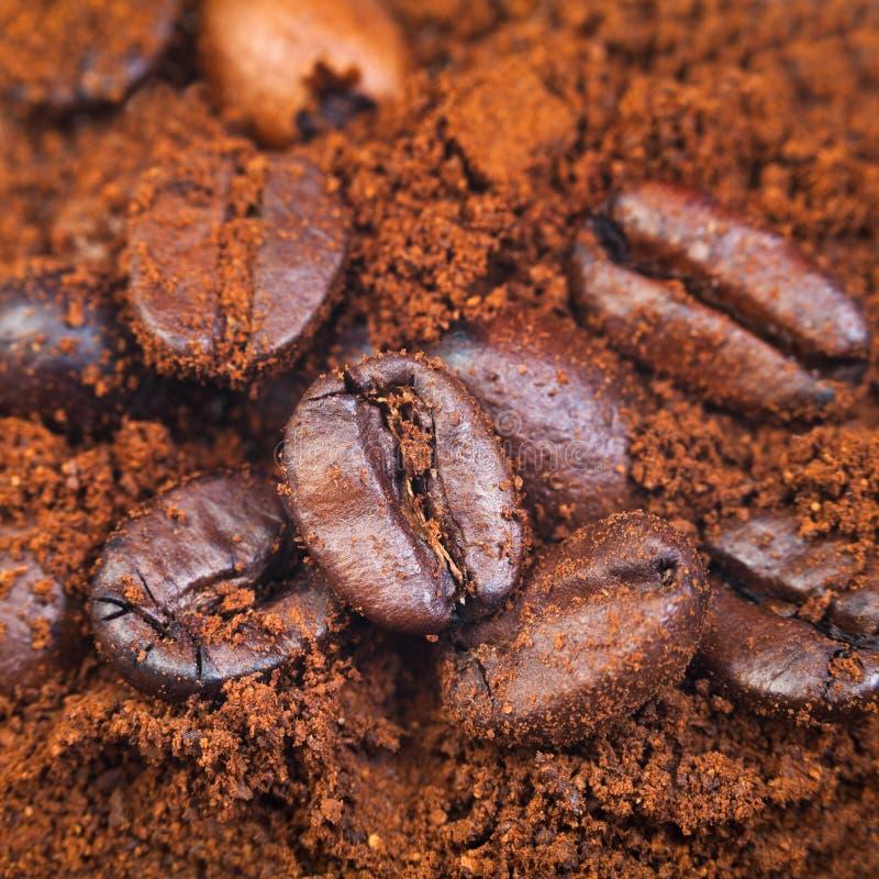 Granos de café de tierra y asados imagen de archivo
