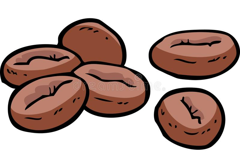 Granos de café del garabato ilustración del vector