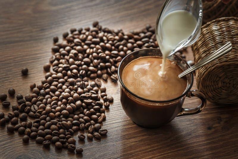 Granos de café dispersados en una tabla de madera y una taza de bebida vertidas en luz de la mañana fotografía de archivo