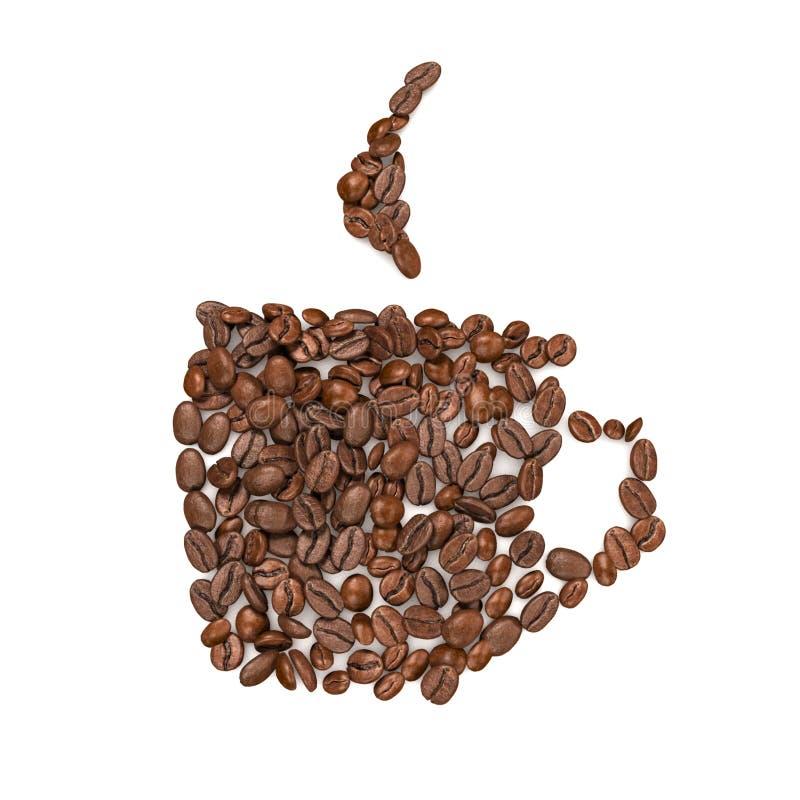 Granos de café dispuestos en la forma de la taza - representación 3D ilustración del vector