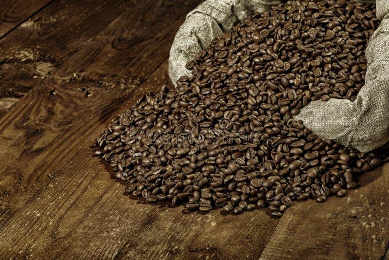 Granos de café en bolso de arpillera imagen de archivo