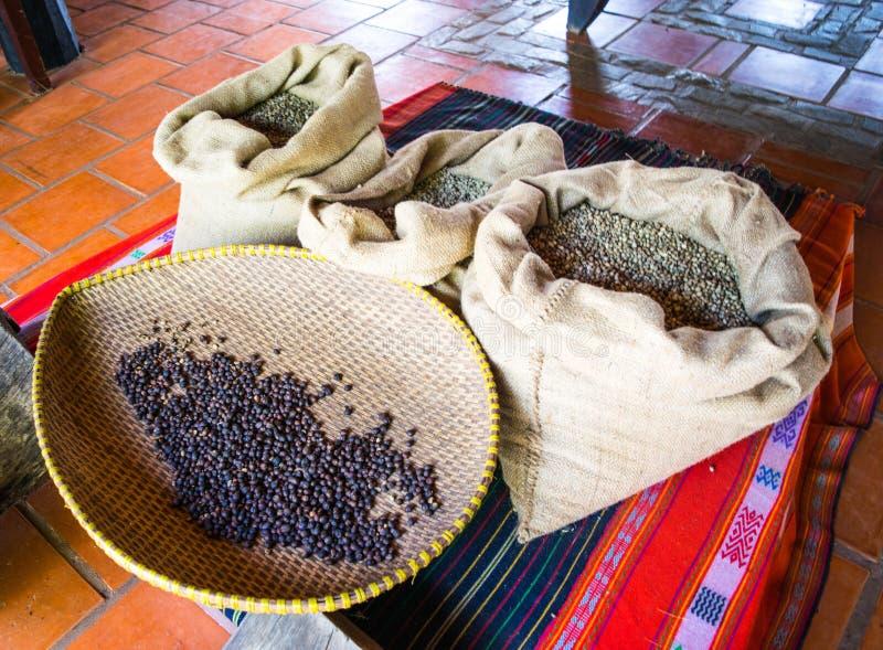 Granos de café en el bolso de café hecho de la arpillera foto de archivo libre de regalías