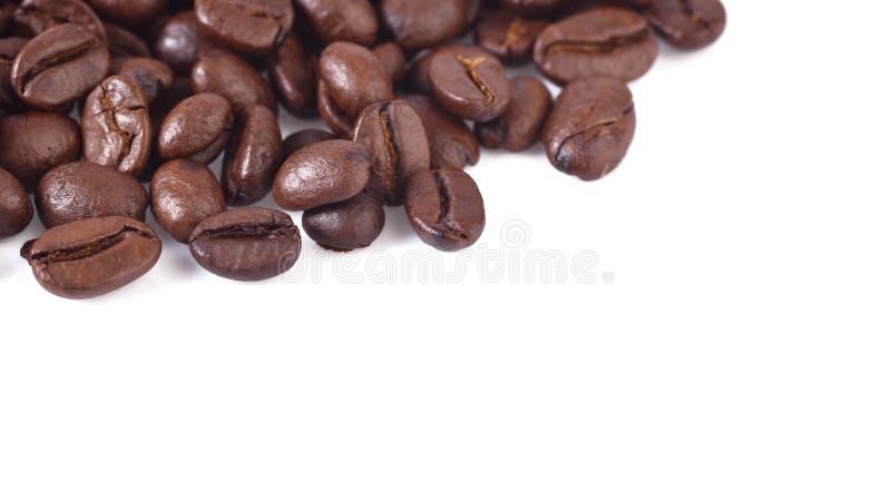 Granos de café en el fondo blanco imagen de archivo
