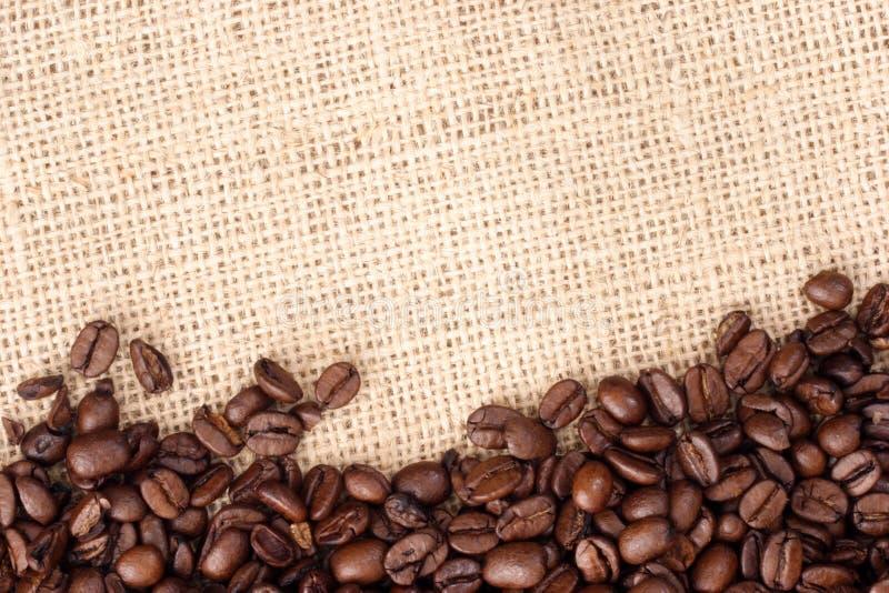 Granos de café en el saco sizal fotografía de archivo libre de regalías