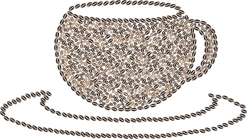 Granos de café en la forma de la taza en vector stock de ilustración