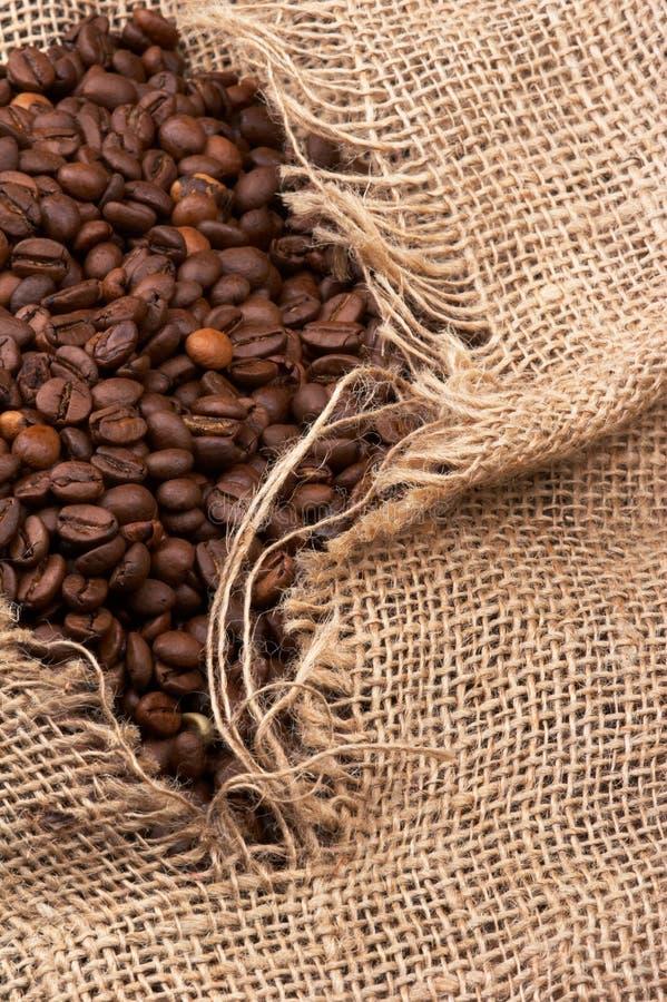 Granos de café en saco imagen de archivo