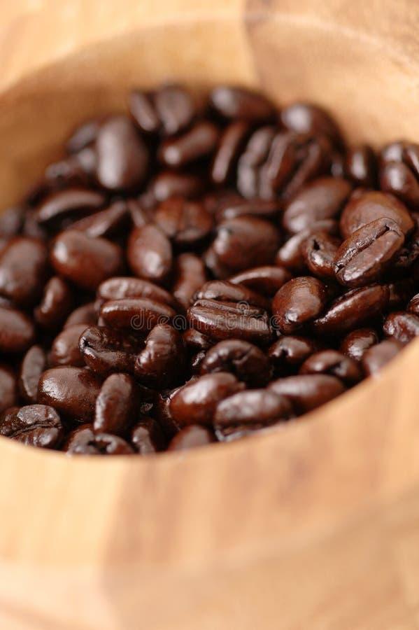 Granos de café en tazón de fuente imagen de archivo