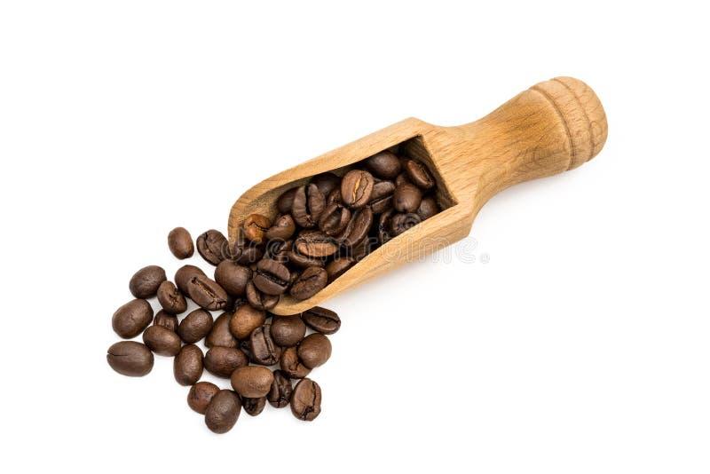 Granos de café en una cuchara fotos de archivo