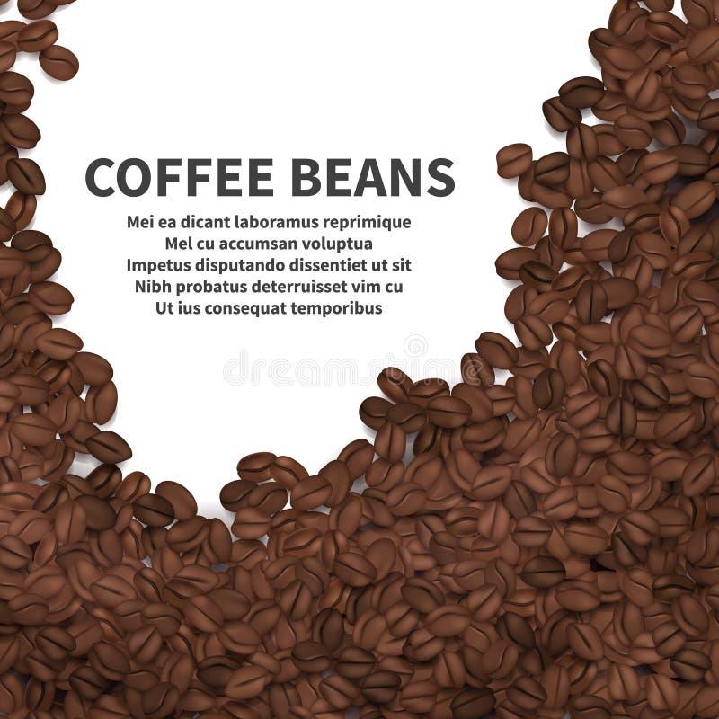 Granos de café de la asación en el fondo blanco Plantilla del cartel de los anuncios del vector stock de ilustración