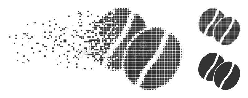 Granos de café que mueven el icono del tono medio del pixel ilustración del vector