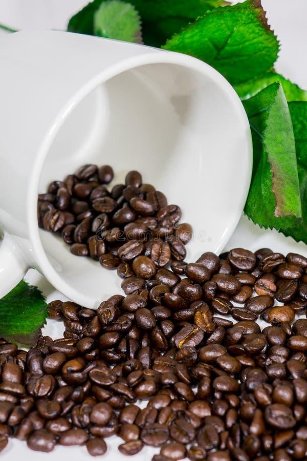 Granos de café, tazas fotografía de archivo libre de regalías