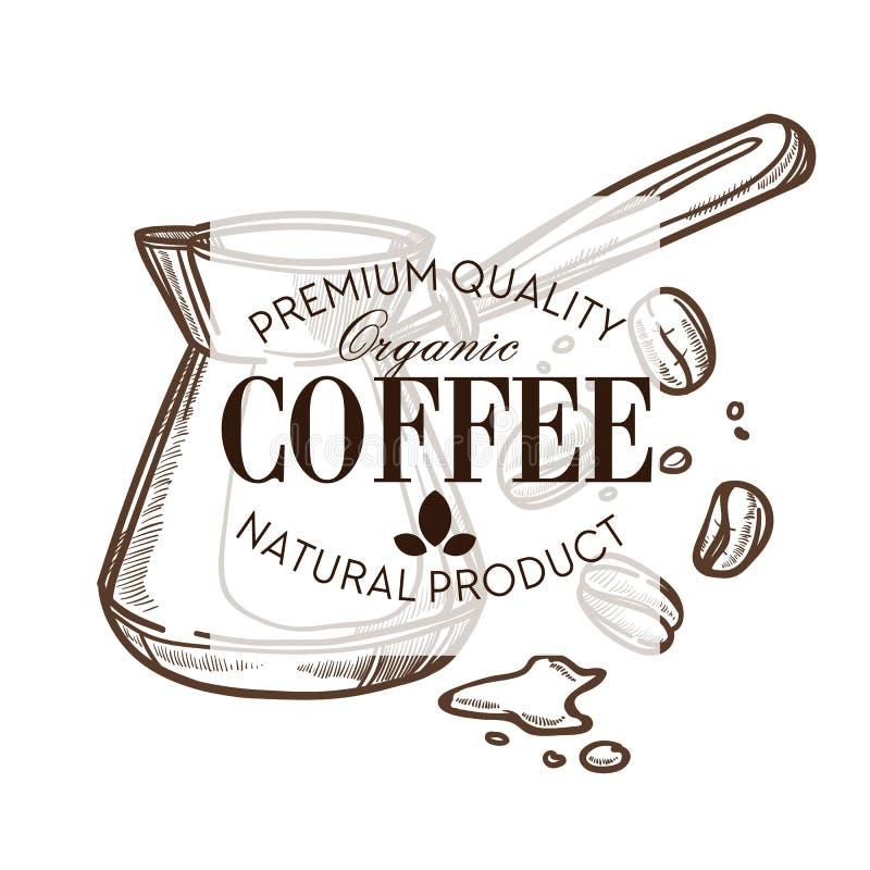 Granos de café y café o cafetería aislado turco del icono del bosquejo libre illustration