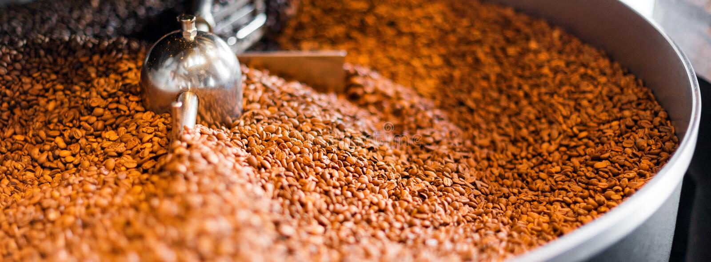 Granos de caf? recientemente asados de un asador grande en el cilindro de enfriamiento Falta de definición de movimiento en las h foto de archivo
