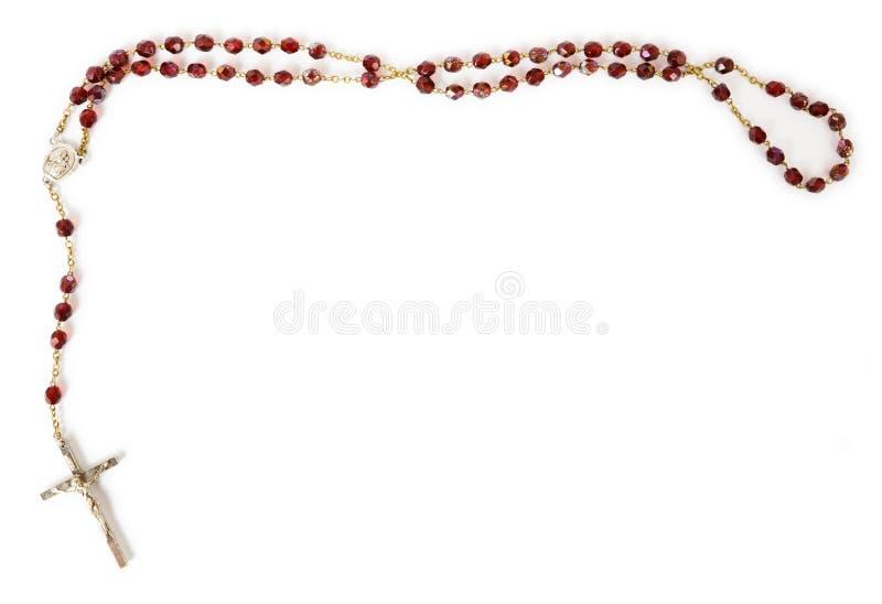 Granos del rosario aislados en blanco imagenes de archivo