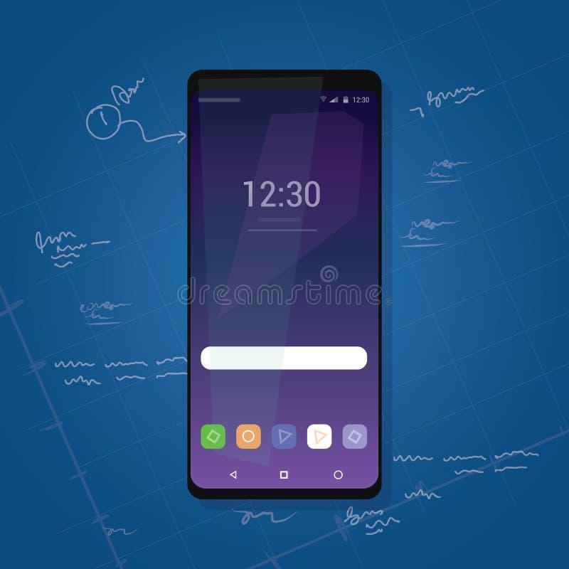 Granskning för grej för mindre smart telefon för skyddsram ny med den lilla kanten stock illustrationer